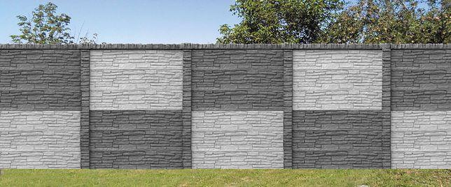 Ogrodzenie dwustronne betonowe pełne kamień naturalny
