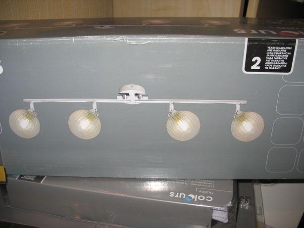 lampa nowa 4 punkty świetlne, klosze na led,halogen,satyna,sufitowa