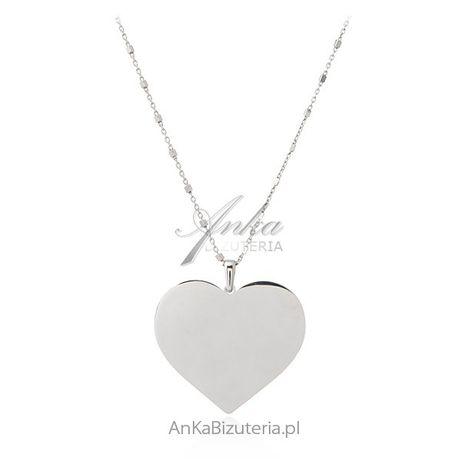 ankabizuteria.pl Naszyjnik srebrny długi z dużym sercem