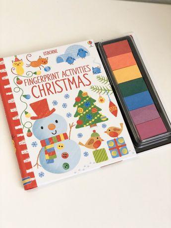 Usborne,Fingerprint Activity Christmas, книгаигрушка с красками