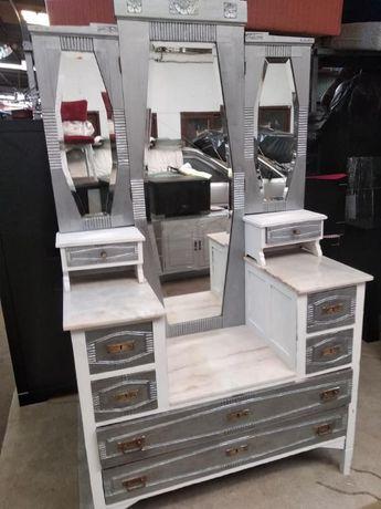 Penteadeira, Toucador espelho Vintage Branco Prata, restaurado anos 60