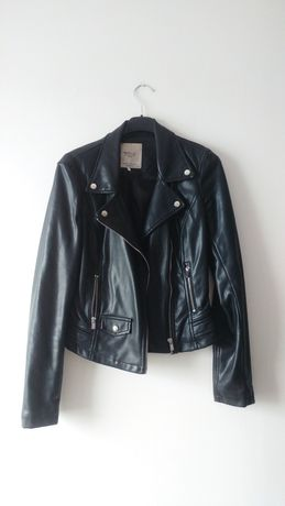 Zara czarna ramoneska kurtka skórzana biker srebrne zamki