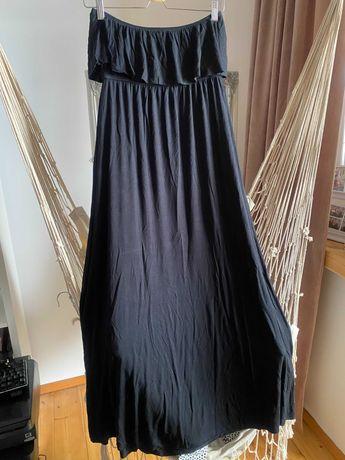 Czarna sukienka maxi gina tricot M 38 40 L falbanka letnia bawełniana