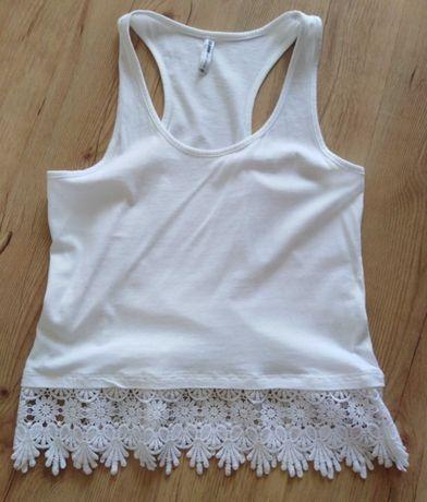 Crop top cropp koronka koszulka ramiączka xs