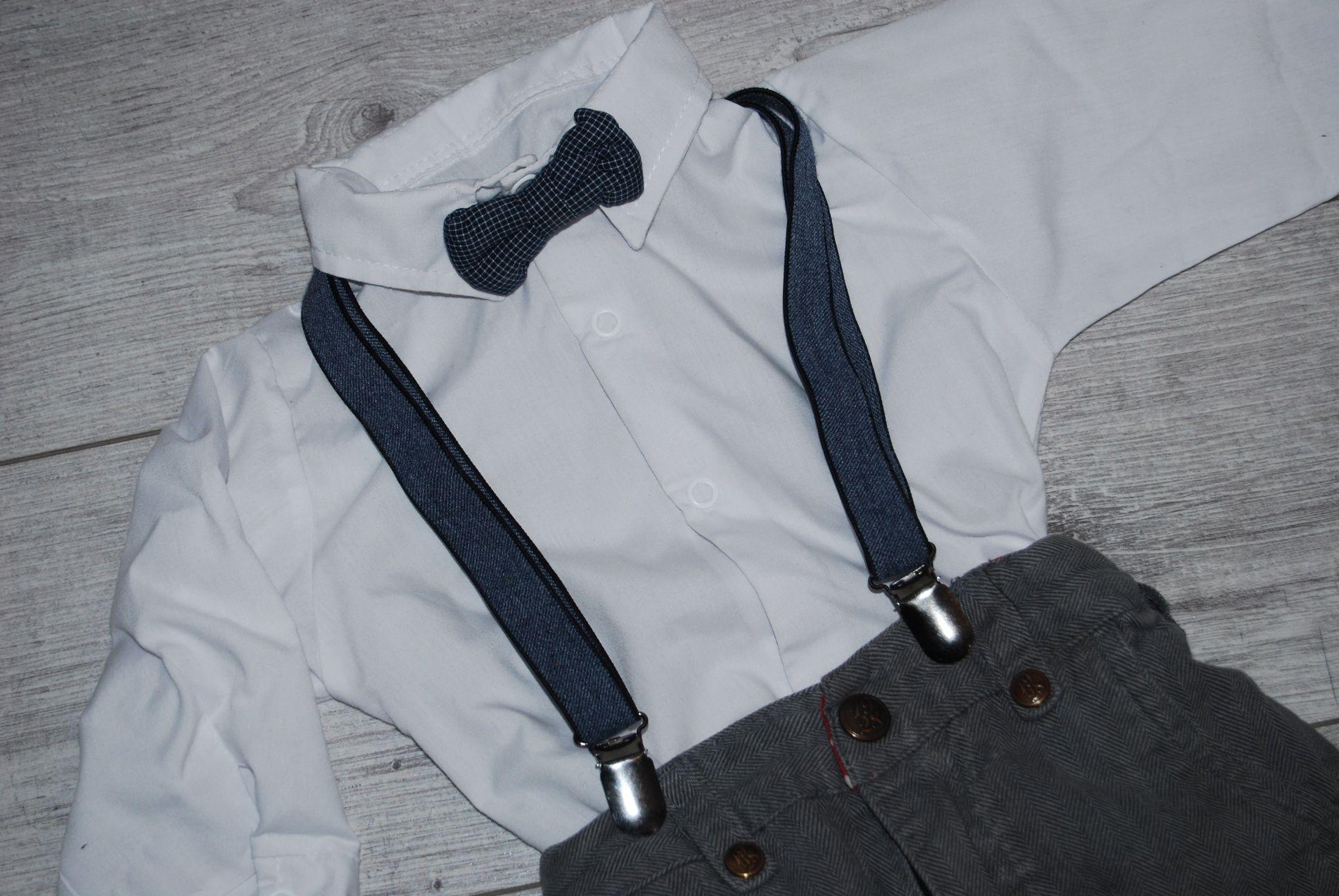 Komplet do chrztu 80/86 (kurka/buty 13 cm/koszula/spodnie/mucha, szelk