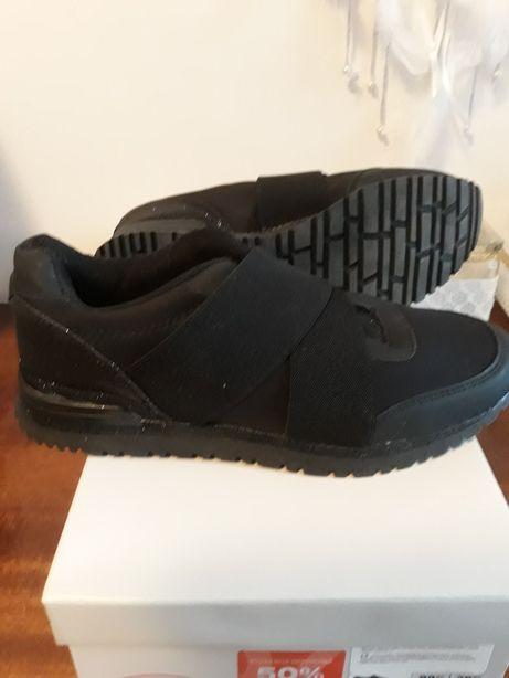 Nowe czarne błyszczące adidasy rozum. 37 Deichmann