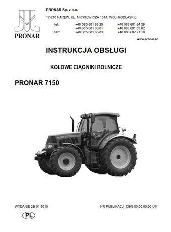 Instrukcja obsługi ciągnika Pronar 7150