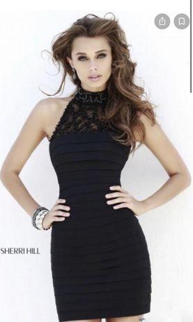Sukienka wieczorowa sherri hill, mała czarna 34 36 xs, s;