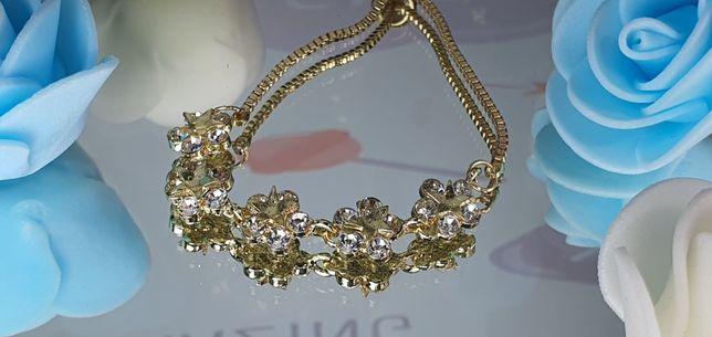 Pulseira dourada de mini diamantes