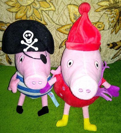 Мягкая игрушка свинка Пеппа и Джордж.