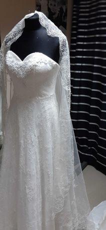 Piękna suknia ślubna 34/36 ivory