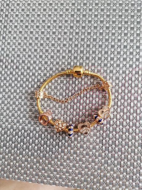 Bransoletka Typu Pandora 18 cm Gold plus charmsy próba 925