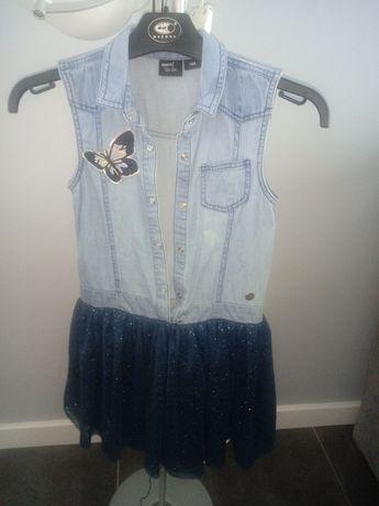Sukienka 128 jeans z tiulem