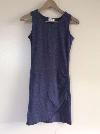 Sukienka mini XS niebieska melanż krótka na lato granatowa
