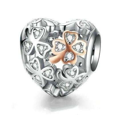 Walentynki Charms AŻUROWE SERCE ROSE koniczyna do Pandora Apart S925