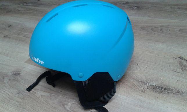 Kask narciarski WEDZE niebieski plus gogle, juniorskie