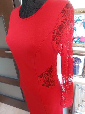 Czerwona suknia sukienka dzianinowa bon prix