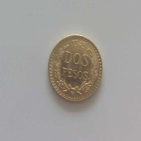 Złota moneta 2 pesos z 1945r. pr.900