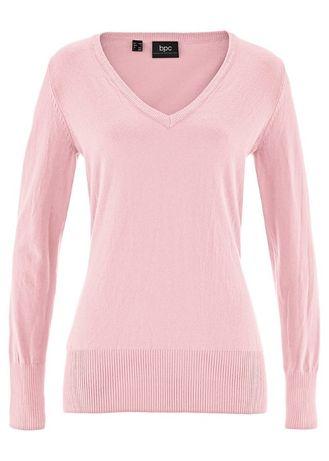 różowy sweterek w serek w rozmiarze M