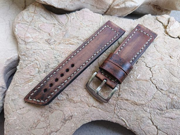 Pasek do zegarka ręcznie robiony - 24 mm. Skóra naturalna hand made