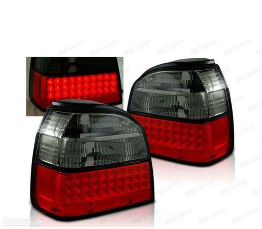 FARÓIS TRASEIROS LED VW GOLF 3 91-97 RED SMOKED (VERMELHO FUMADO / ESCURECIDO)