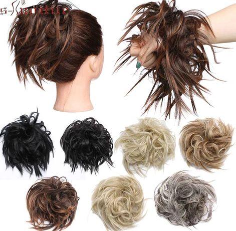 Włosy syntetyczne na gumce, doczepy do włosów 3 kolory