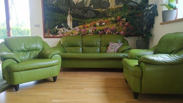 Zestaw skorzany sofa 2 fotele komplet wypoczynkowy skóra naturalna
