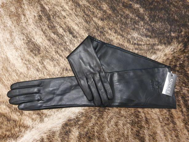 Женские кожаные длинные перчатки Gucci