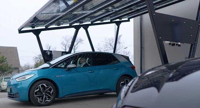 Wiata Fotowoltaiczna stalowa 2 auta, CarPort 6,75kWp LONGI 450