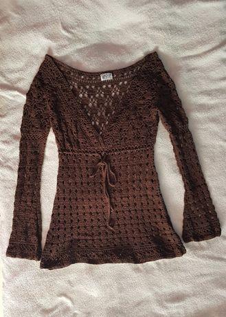 Bluzka tunika ażurowa brązowa firmy SASHA 100% bawełna 36-38