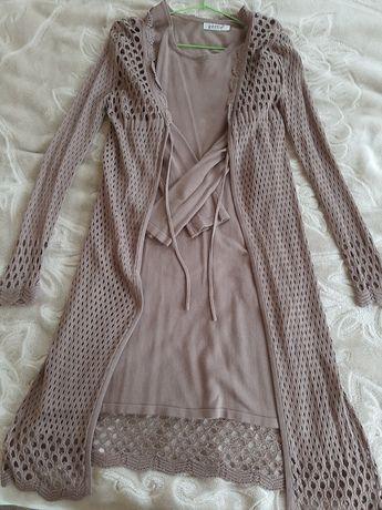 Красивый комплект, платье и вязаная накидка