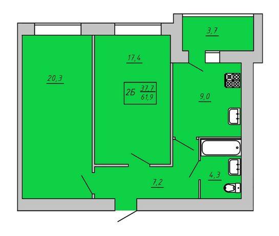 Продам двухкомнатную квартиру с А/о. ЖК Киевский. 2-я очередь