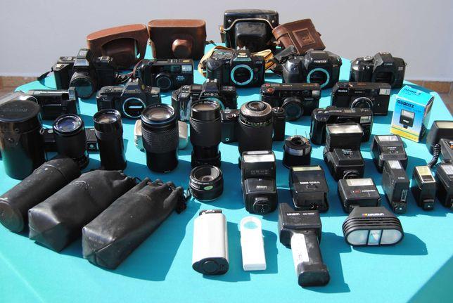 Lote de Máquinas Fotograficas, Lentes, Flashes, etc (para peças)