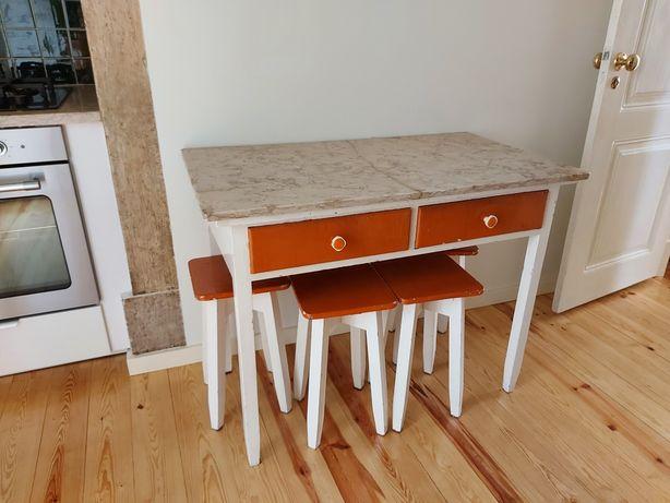 Mesa cozinha vintage tampo em mármore