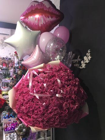 Троянди,101 троянда,рози,доставка квітів,у коробці, плюшевий мишка