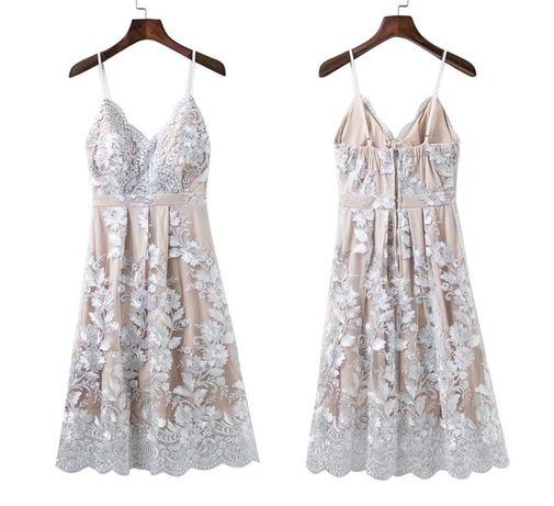 Вечернее платье с вышивкой золото серебро