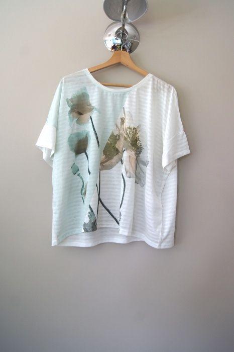 c&a biały t-shirt biała bluzka w pasy oversize w kwiaty szara 40 L hit Pabianice - image 1