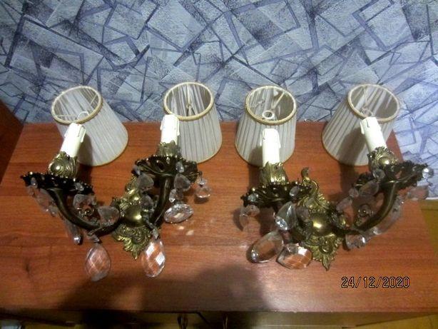 Антикварная пара бронзовых бра с хрусталем 30 см