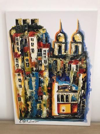 Lisboa - Tela pintada à mão
