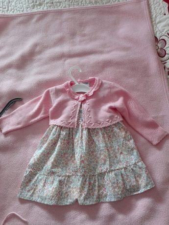 Vestido + Casaco para menina, tamanho 12 meses,