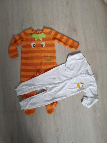 Dwa nowe pajacyki 86 piżamki śpiochy 12-18 komplet lupilu George
