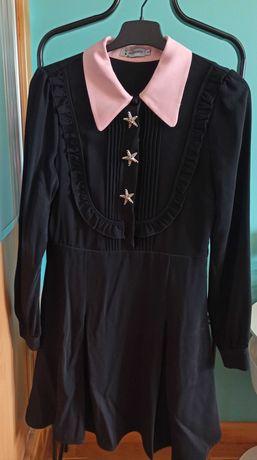 Vestido Preto com Gola Rosa - Minueto