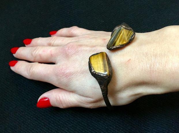 Miedziana bransoleta z tygrysim okiem