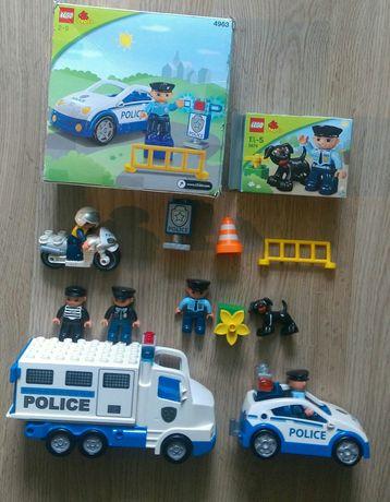 Набор б/у Lego Duplo полицейский мотоцикл, автозак, машинка, кинолог.