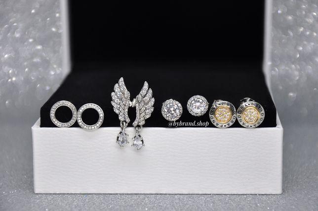 Сережки pandora 100%срібло пандора серебро
