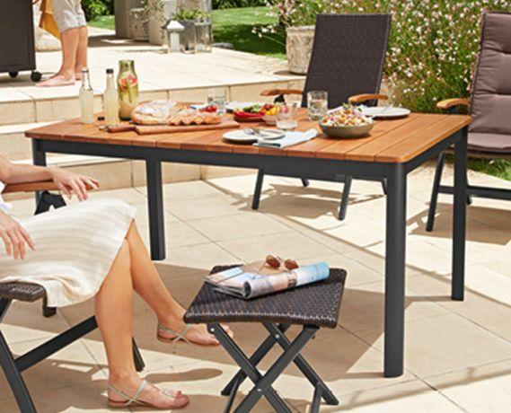 Aluminiowy stół ogrodowy GARDENLINE drewniany blat 150 x 90cm