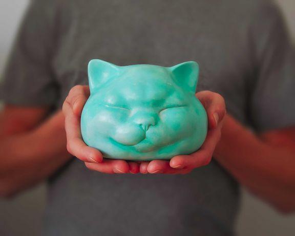 Figurka Kota w kolorze patynowanej miedzi, Dekoracja Wnętrz