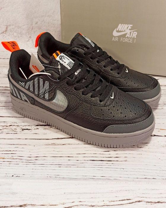 Реальная Кожа Nike Air Force 1 кроссовки мужские черные 42 43 44 45 46