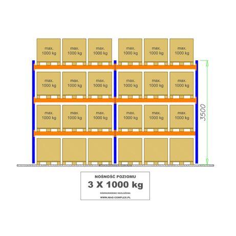 Regał paletowy B20 L=5655mm 24 palety – 1000kg 0+3 - Regały PRODUCENT