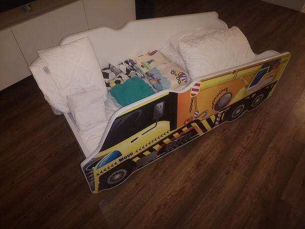 Łużeczko dziecięce auto dźwig materac 140x70